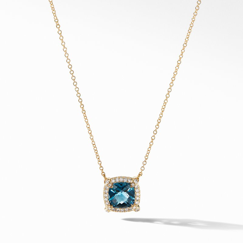 David Yurman Petite Chatelaine® Pavé Bezel Pendant Necklace in 18K Yellow Gold with Hampton Blue Topaz