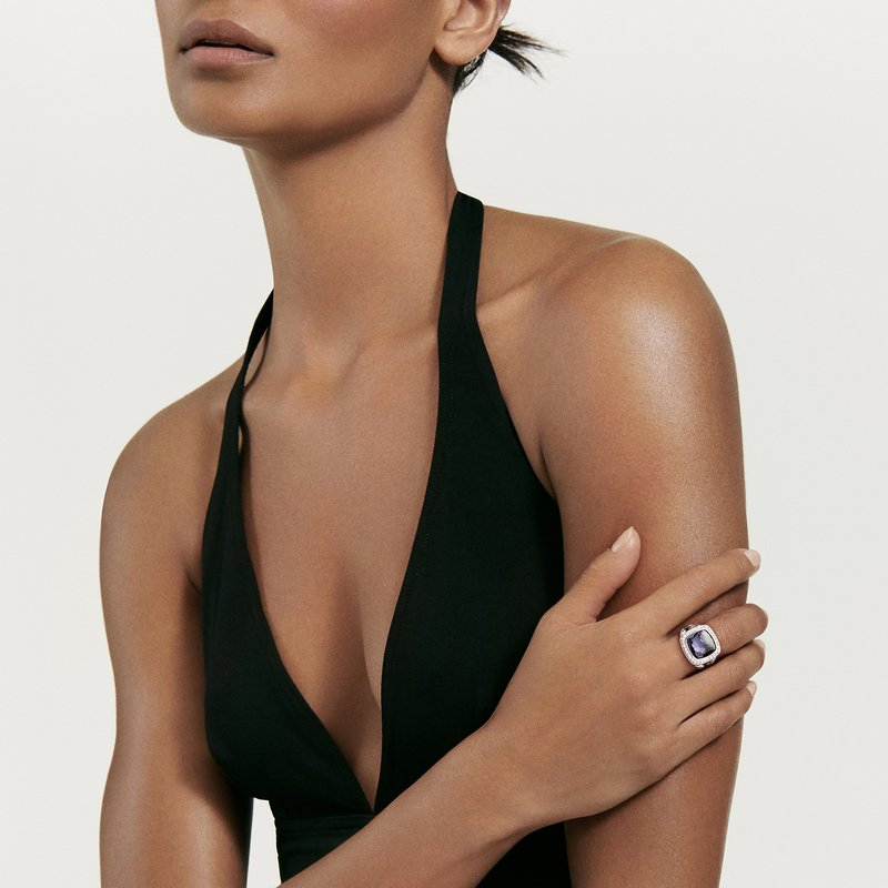 David Yurman Albion® Ring with Black Orchid and Diamonds