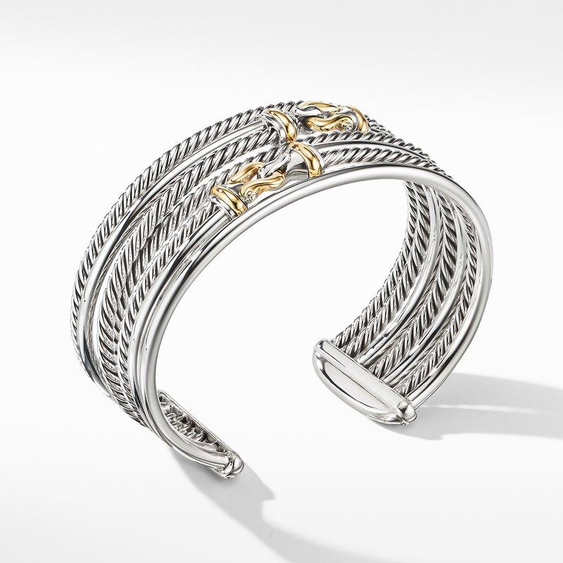 David Yurman Buckle Crossover Cuff Bracelet with 18K Yellow Gold