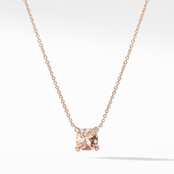 Chatelaine® Pendant Necklace with Diamonds in 18K Rose Gold with Morganite