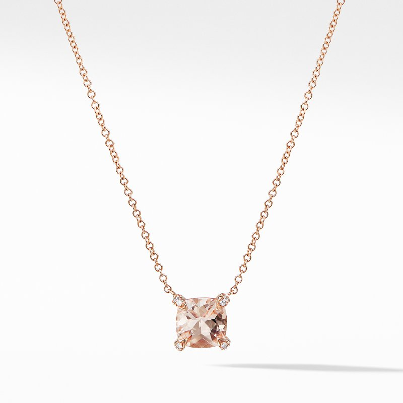 David Yurman Chatelaine® Pendant Necklace with Diamonds in 18K Rose Gold with Morganite