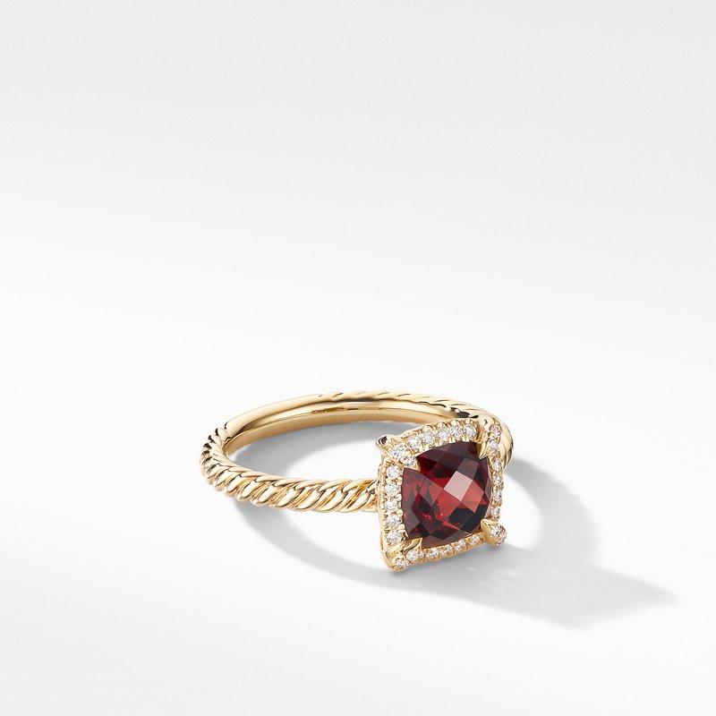 David Yurman Petite Chatelaine® Pavé Bezel Ring in 18K Yellow Gold with Garnet