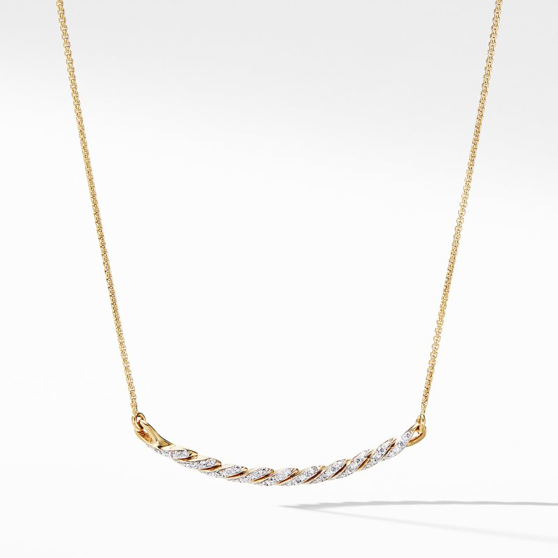 David Yurman Paveflex Station Necklace with Diamonds in 18K Gold