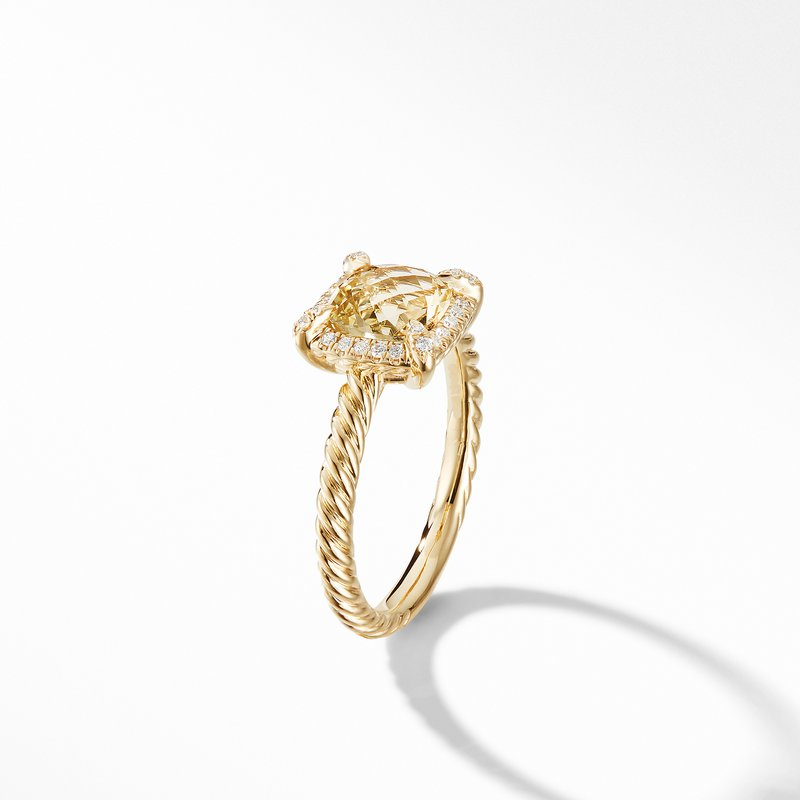 David Yurman Chatelaine® Pavé Bezel Ring in 18K Yellow Gold with Champagne Citrine