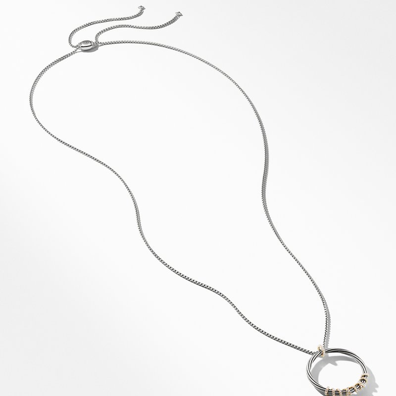 David Yurman Helena Large Pendant Necklace with Diamonds and 18K Gold, 36.5mm