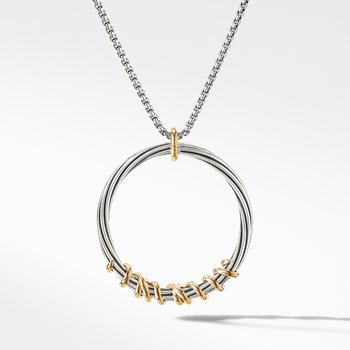 Helena Large Pendant Necklace with Diamonds and 18K Gold, 36.5mm