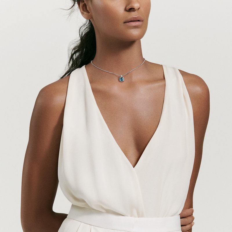 David Yurman Chatelaine Pave Bezel Pendant Necklace with Hampton Blue Topaz and Diamonds, 9mm