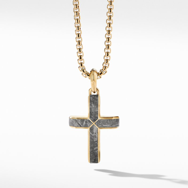 David Yurman Faceted Cross Pendant in 18K Yellow Gold with Meteorite