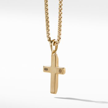 Faceted Cross Pendant in 18K Yellow Gold with Meteorite