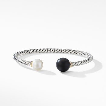Solari XL Cable Bracelet with Matte Black Onyx, Pearl and 14K Yellow Gold