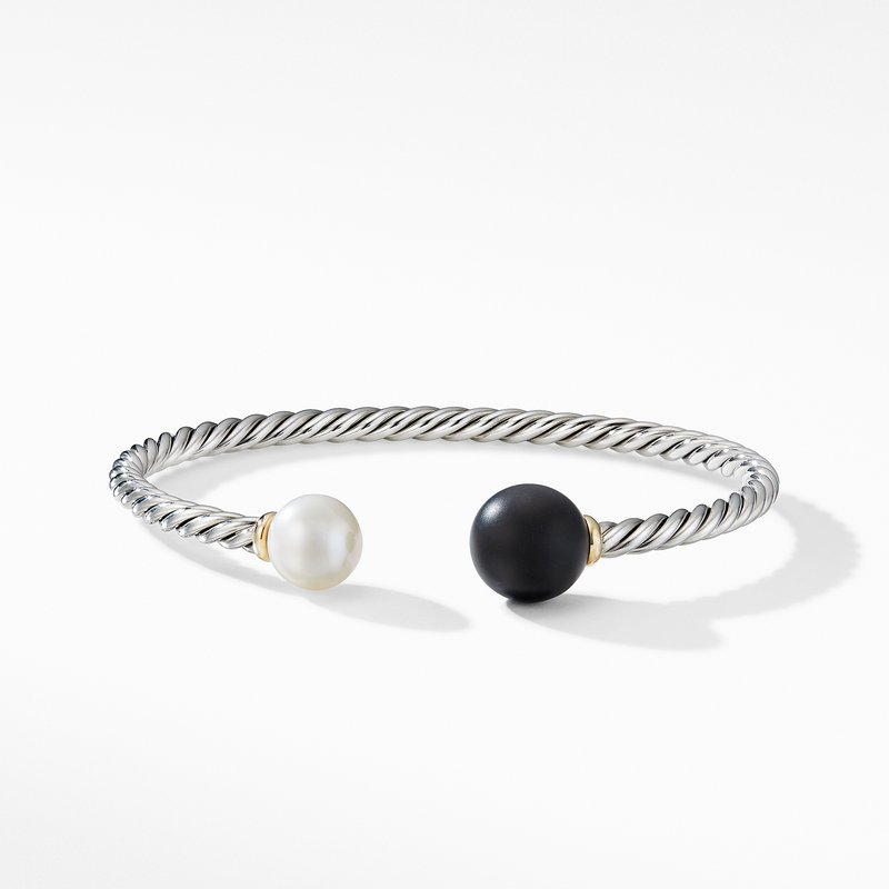David Yurman Solari XL Cable Bracelet with Matte Black Onyx, Pearl and 14K Yellow Gold