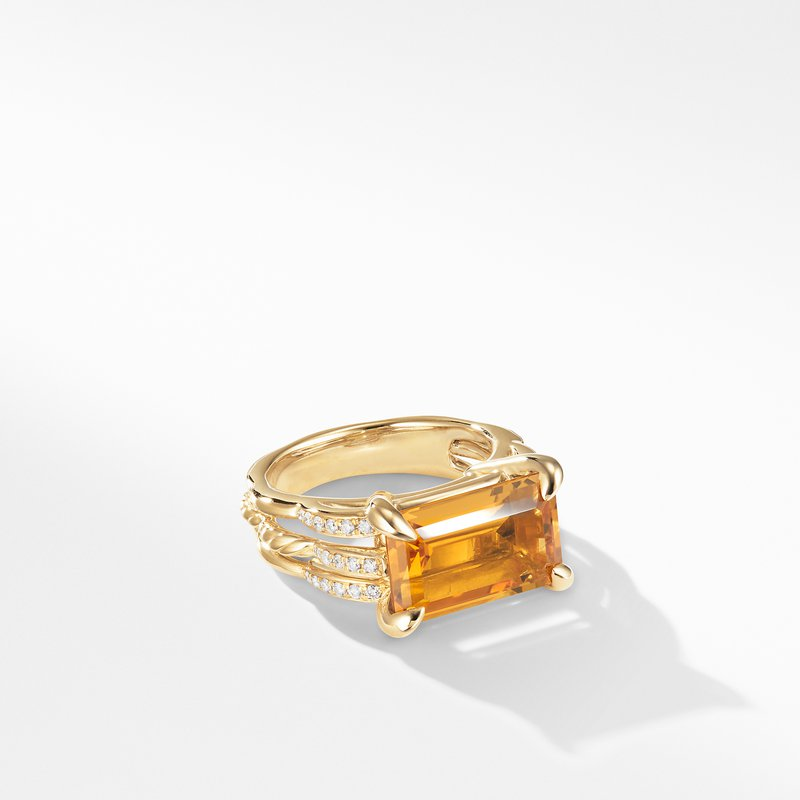 David Yurman Tides Ring in 18K Yellow Gold with Citrine and Diamonds