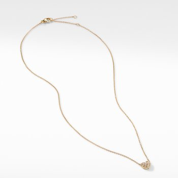 Heart Pendant Necklace in 18K Yellow Gold with Pavé Diamonds