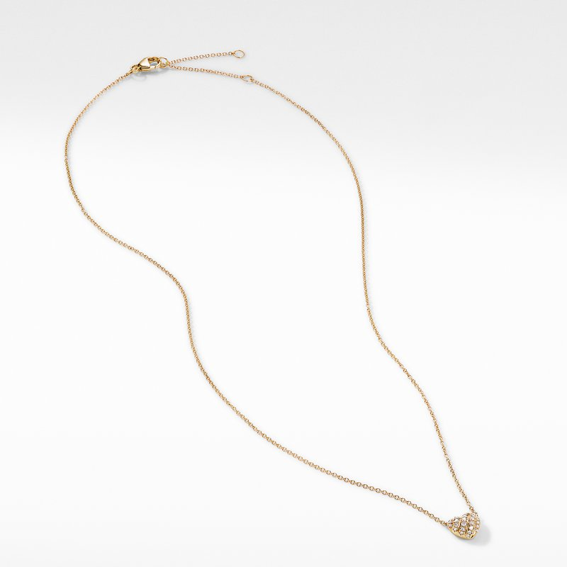 David Yurman Heart Pendant Necklace in 18K Yellow Gold with Pavé Diamonds
