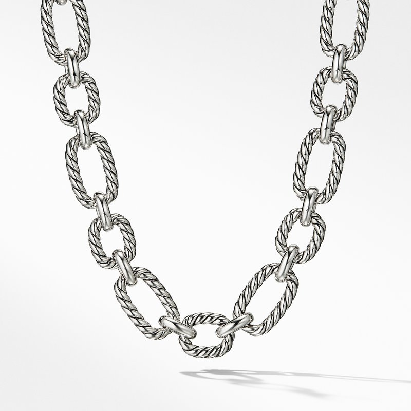 David Yurman Cushion Link Necklace with Blue Sapphires