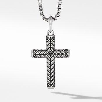 Chevron Sculpted Cross with Pavé Black Diamonds