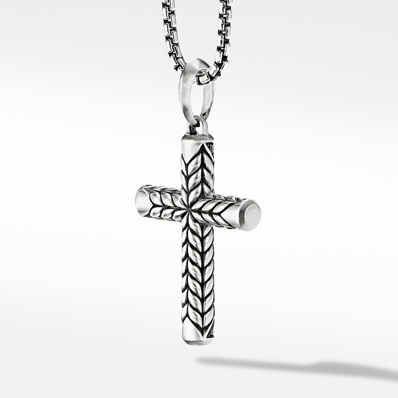 David Yurman Chevron Sculpted Cross with Pavé Black Diamonds