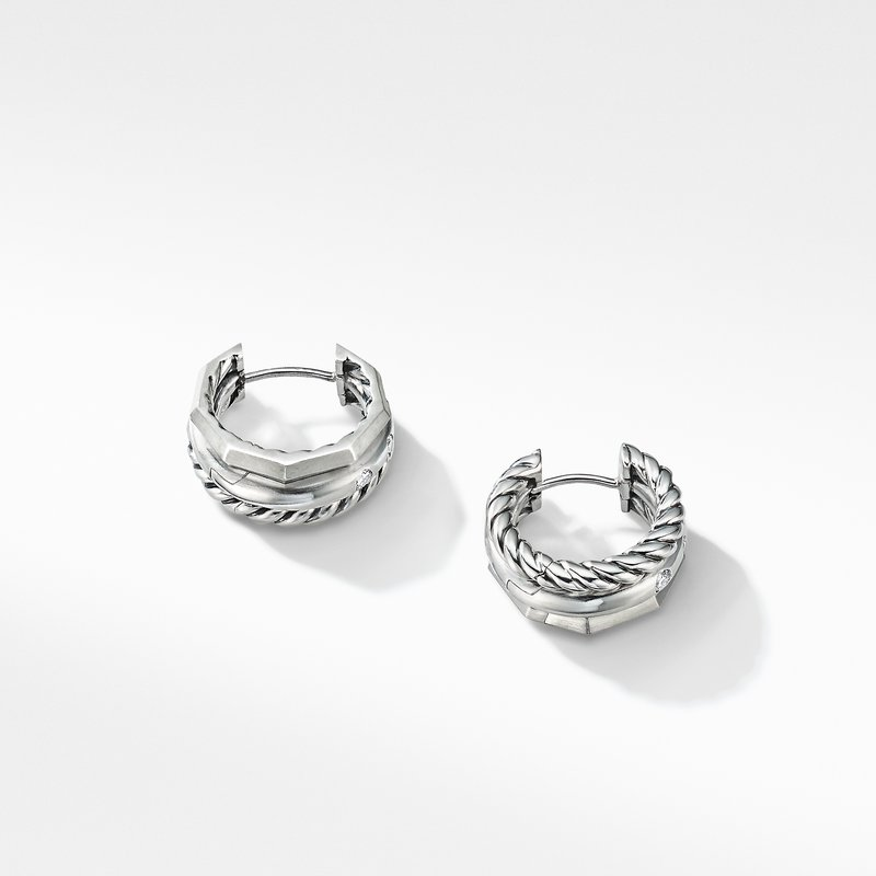David Yurman Stax Huggie Hoop Earrings with Diamonds
