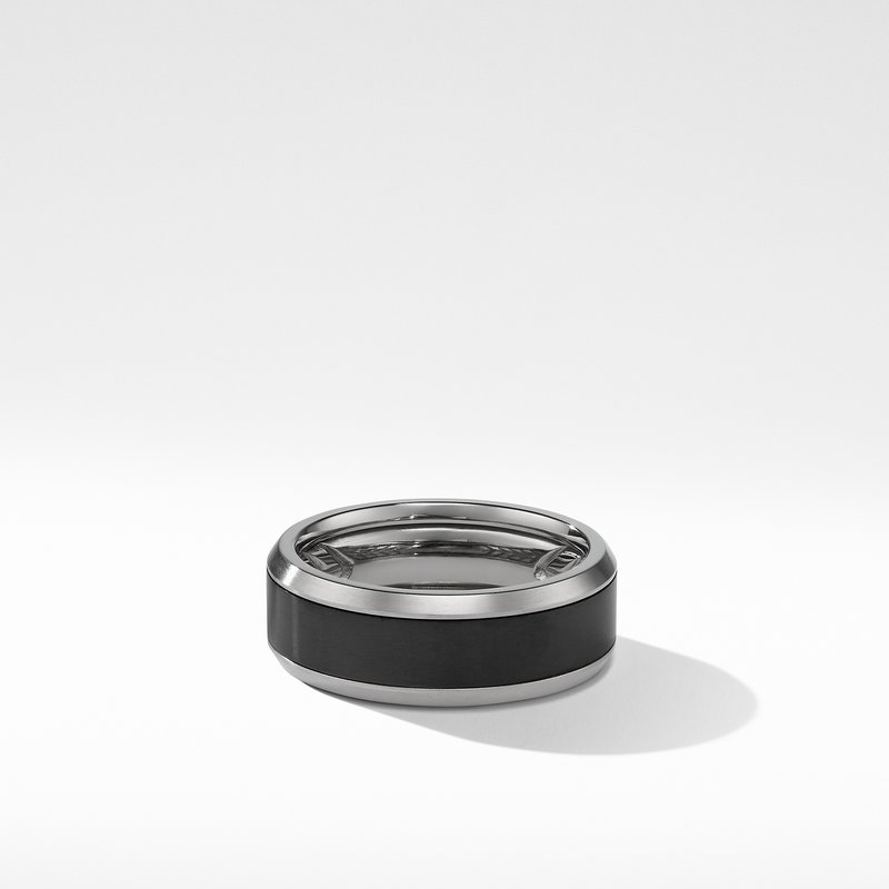 David Yurman Beveled Band Ring in Grey Titanium with Black Titanium