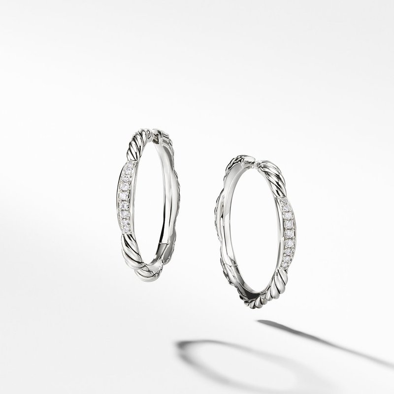 David Yurman Tides Hoop Earrings with Diamonds