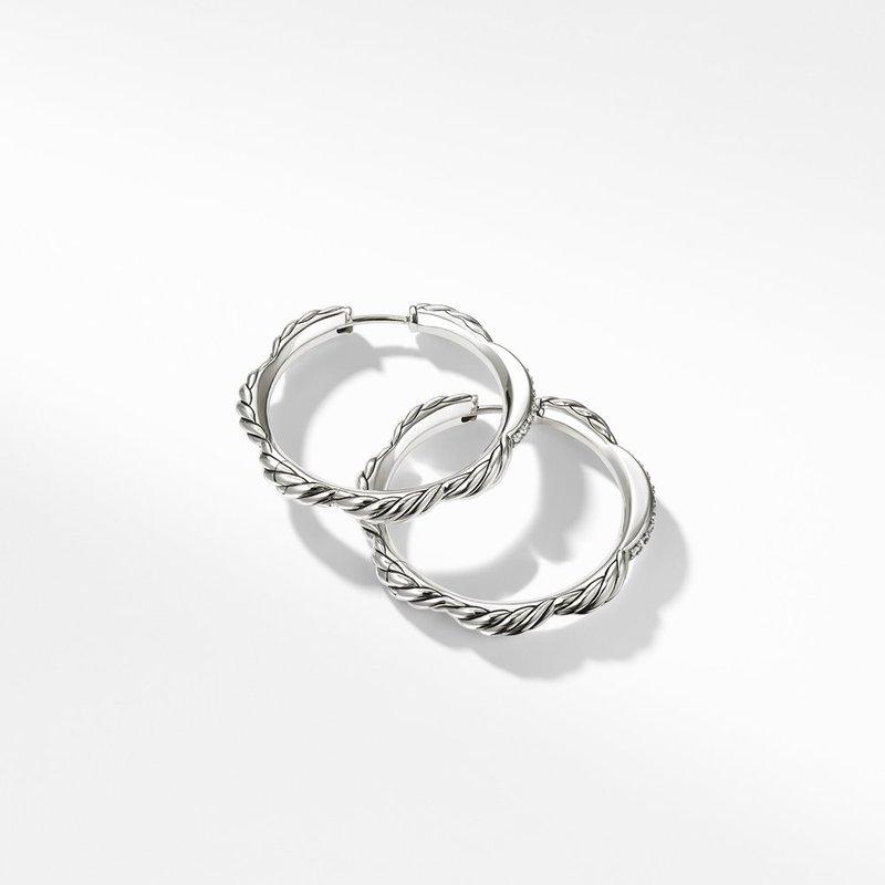 David Yurman Tides Hoop Earrings with Diamonds