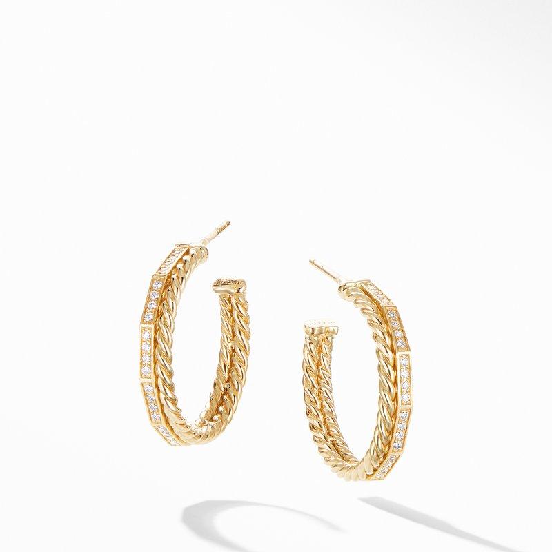 David Yurman Stax Hoop Earrings with Diamonds in 18K Gold, 25mm