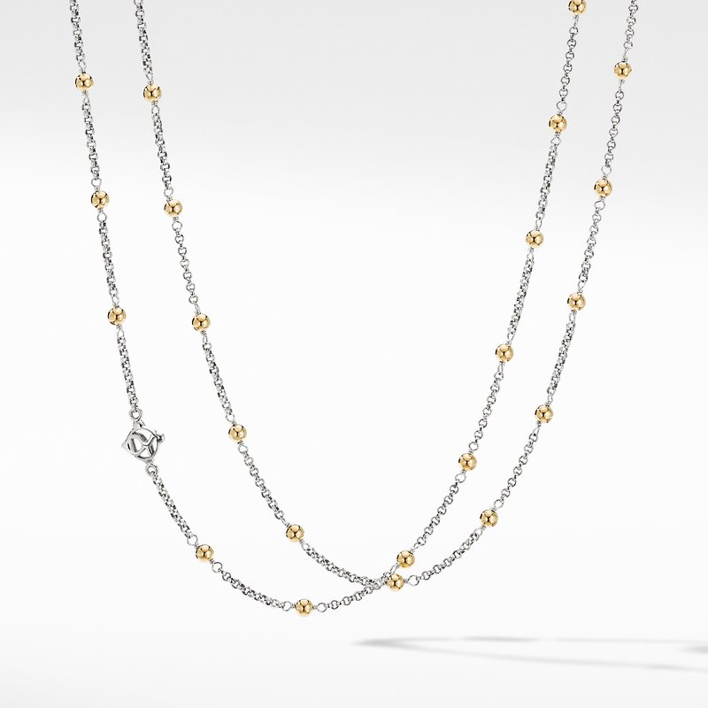 David Yurman Cable Collectibles® Bead and Chain Necklace with 18K Yellow Gold Domes