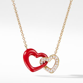 Double Heart Pendant Necklace with Diamonds, Red Enamel and 18K Gold