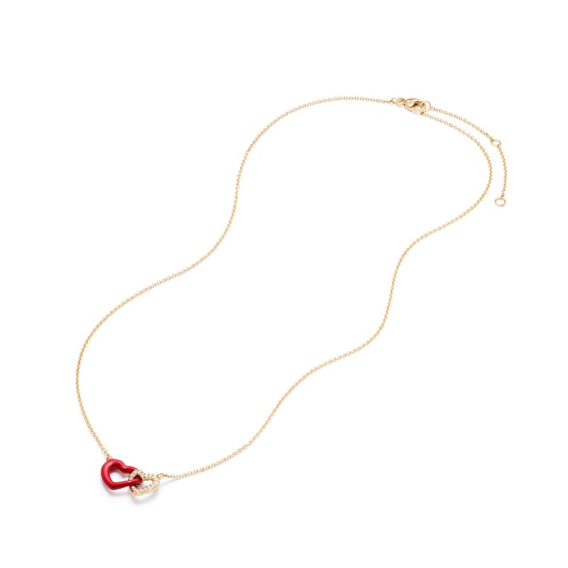 David Yurman Double Heart Pendant Necklace with Diamonds, Red Enamel and 18K Gold