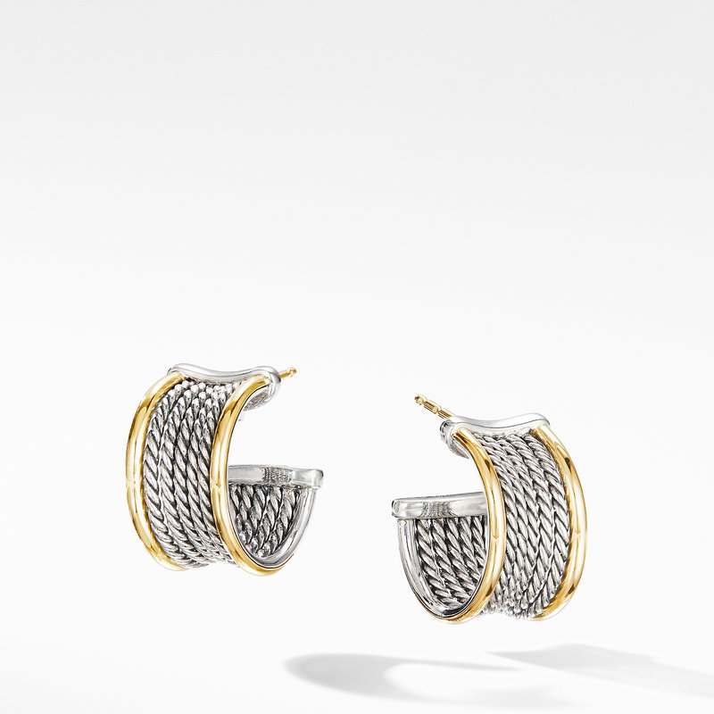 David Yurman DY Origami Cable Huggie Hoops with 18K Yellow Gold