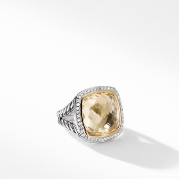 Ring with Champagne Citrine and Diamonds with 18K Gold