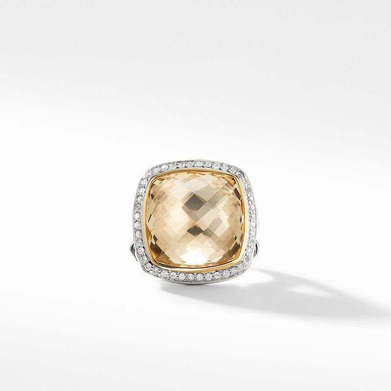 David Yurman Ring with Champagne Citrine and Diamonds with 18K Gold