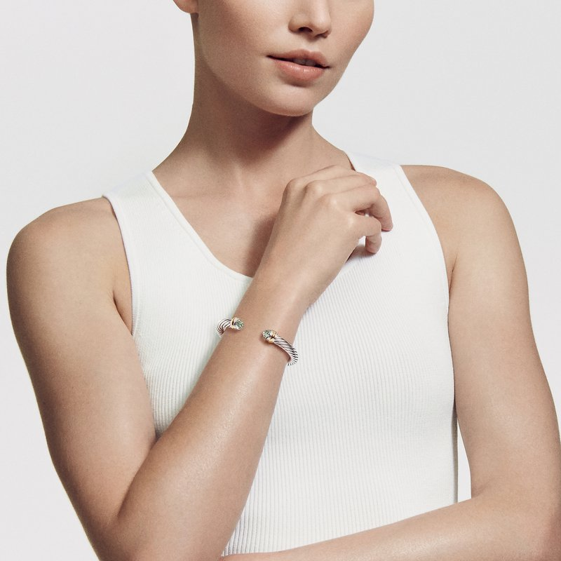 David Yurman Cable Classics Collection® Bracelet with Prasiolite and 14K Gold