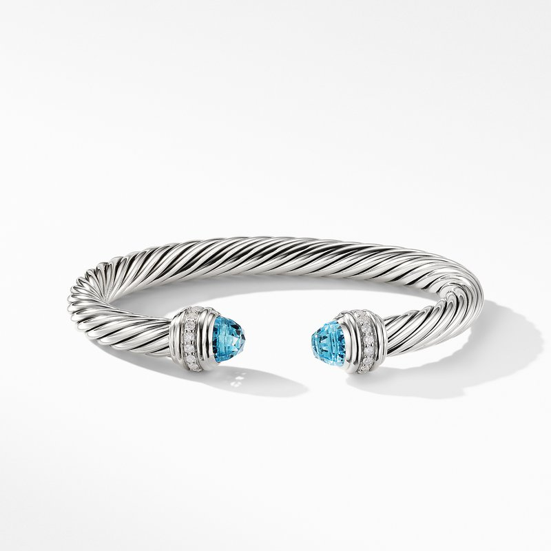 David Yurman Cable Bracelet with Blue Topaz and Diamonds