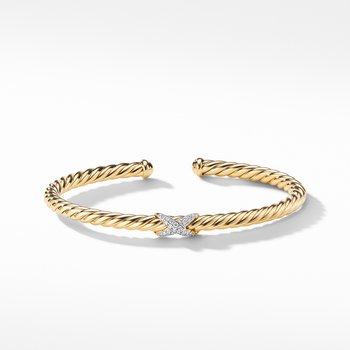 X Bracelet with Diamonds in 18K Gold