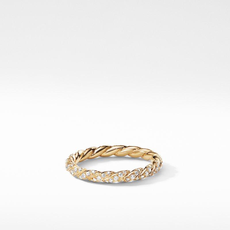 David Yurman Paveflex Ring with Diamonds in 18K Gold