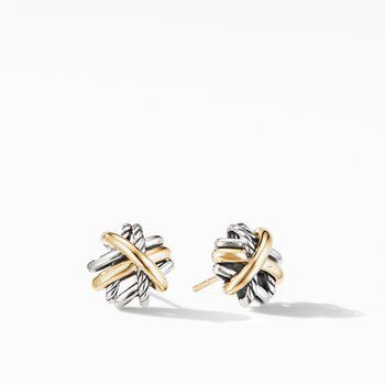 Crossover Stud Earrings with 18K Yellow Gold