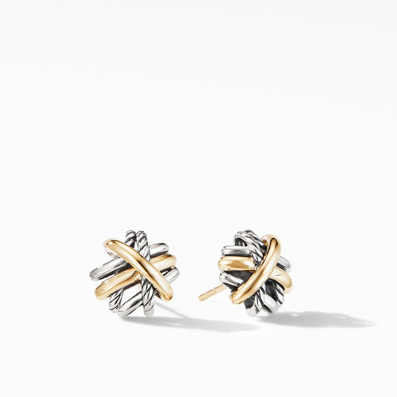 David Yurman Crossover Stud Earrings with 18K Yellow Gold