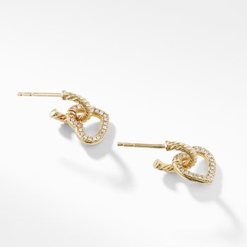 Heart Drop Earrings with Diamonds in 18K Gold