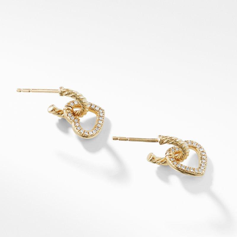 David Yurman Heart Drop Earrings with Diamonds in 18K Gold