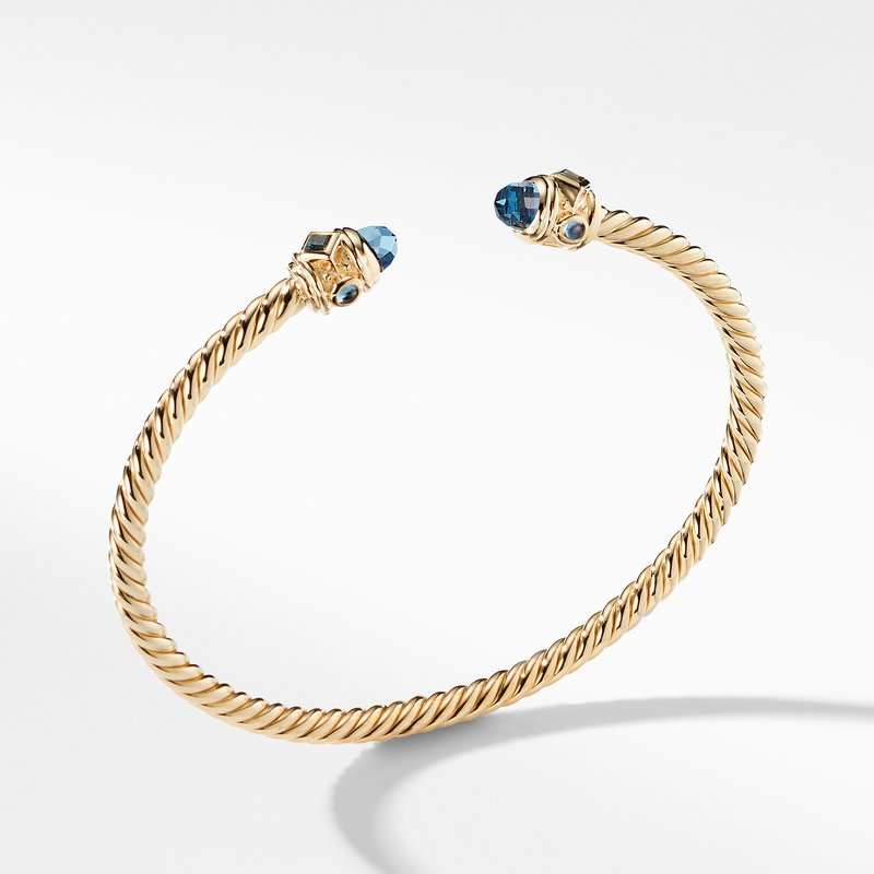 David Yurman Renaissance Bracelet with Hampton Blue Topaz in 18K Gold, 3.5mm