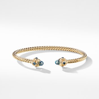 Renaissance Bracelet with Hampton Blue Topaz in 18K Gold, 3.5mm