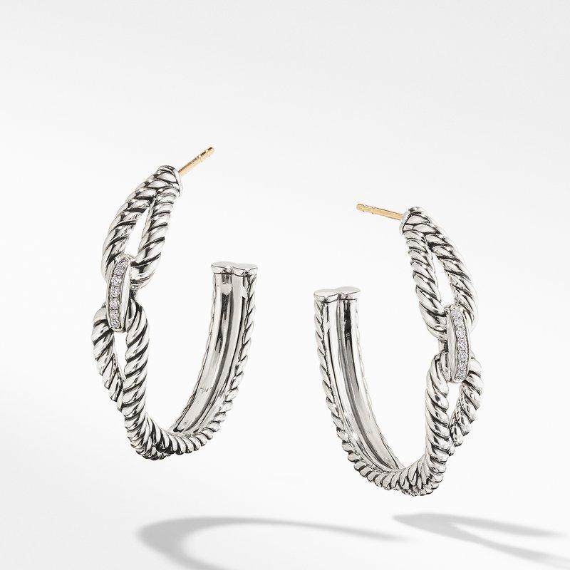 David Yurman Cable Loop Hoop Earrings with Diamonds