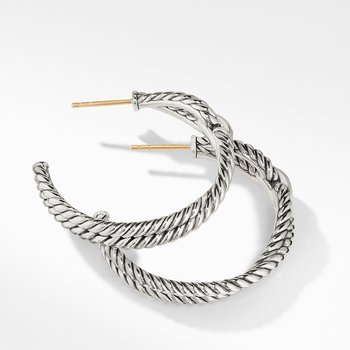 Cable Loop Hoop Earrings with Diamonds