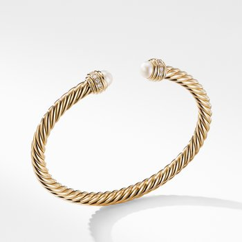 Cable Bracelet in 18K Gold with Pearls and Diamonds