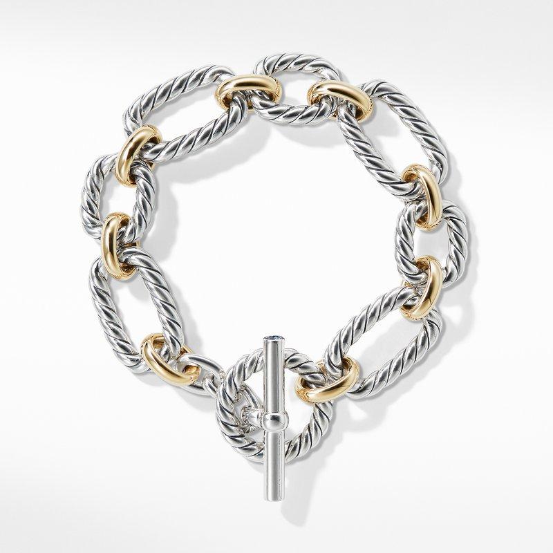 David Yurman Cushion Link Bracelet with Blue Sapphires and 18K Gold