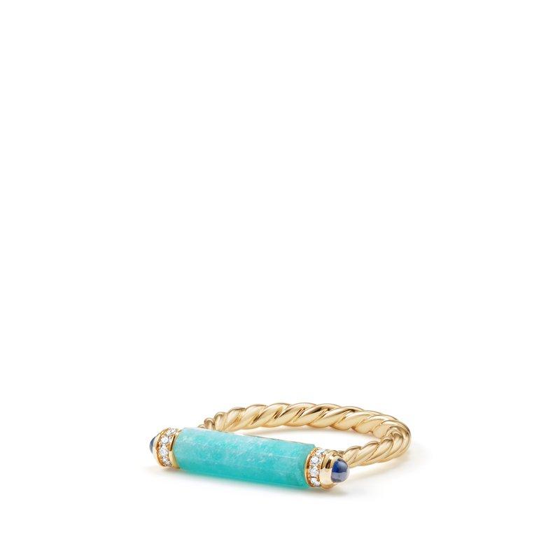David Yurman Barrels Ring with Amazonite Sapphires and Diamonds in 18K Gold