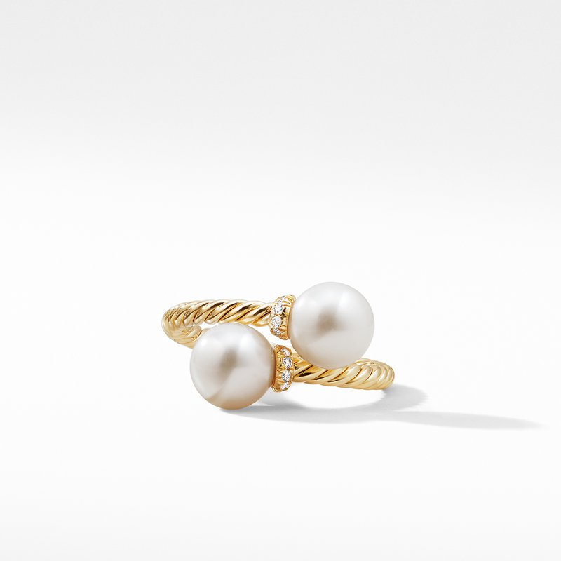 David Yurman Bypass Ring with Pearls and Diamonds in 18K Gold