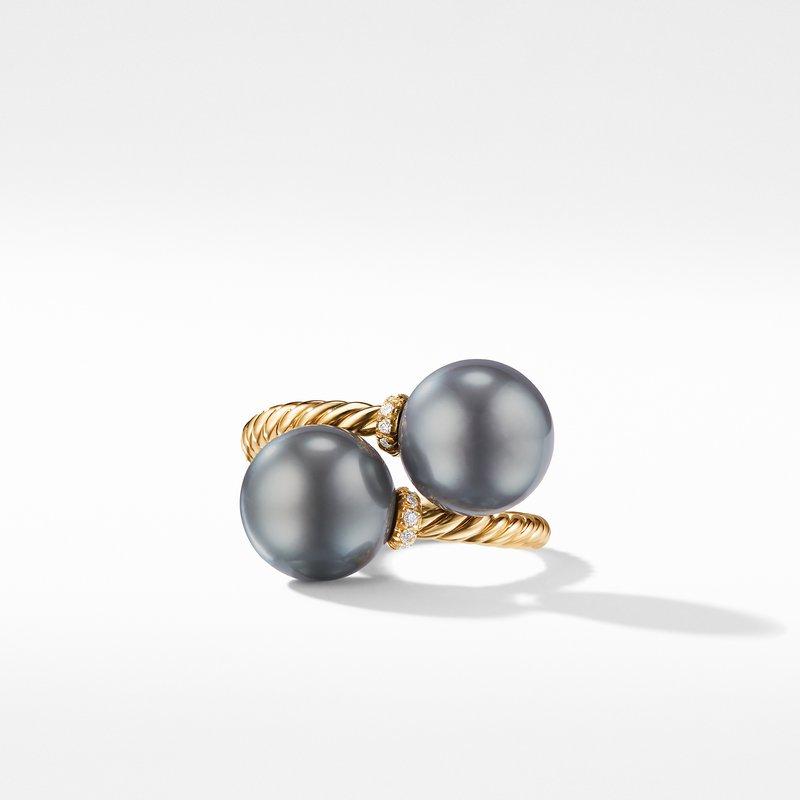 David Yurman Solari Bypass Ring with Diamonds and Tahitian Grey Pearls in 18K Gold