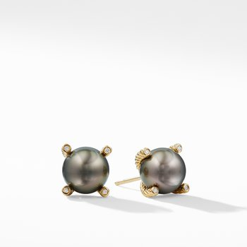 Tahitian Grey Pearl Earrings with Diamonds in 18K Gold